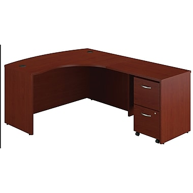 Bush Westfield Right L-Bow Desk w/ 2-drawer File - Cherry Mahogany, Fully assembled