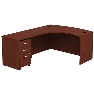 Bush Business Westfield 60W Left-Handed Bow Front L-Desk with Return Bridge and Mobile Pedestal, Cherry Mahogany, Installed