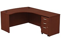 Bush Westfield 60' RH L-Station w/ 3-Drawer Mobile Pedestal (B/B/F) - Cherry Mahogany, Fully assembled