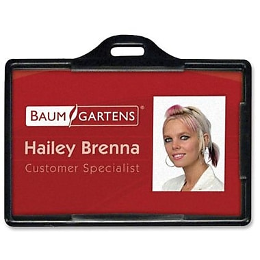 Baumgartens® ID Card Holder, Horizontal, Black, 25/Pack