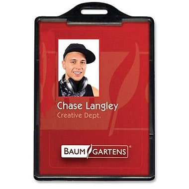 Baumgartens® ID Card Holder, Vertical, Black, 25/Pack