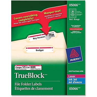 Avery® TrueBlock Laser Red Filing Labels, 2/3