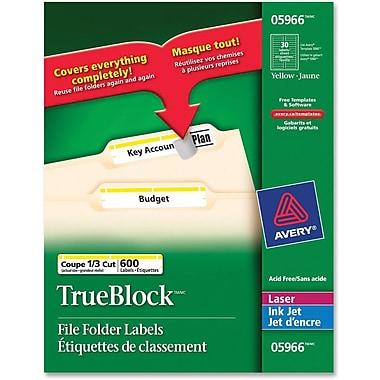 Avery® – Étiquettes de classement jaunes TrueBlock pour imprimantes au laser, 2 1/32 po x 3 7/16 po, paq./600