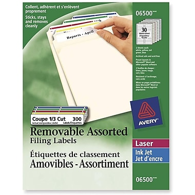 Avery® Removable Laser/Inkjet Assorted Colours Filing Labels, 3-7/16