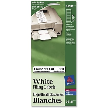 Avery® Laser/Inkjet White Filing Labels, 3-7/16