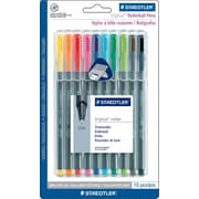 Staedtler Triplus Rollerball Pens, .4mm, Assorted Colors, 10/Pack