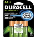 Duracell AA Pre-Charged Rechargeable Batteries, 4/Pack