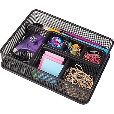 Staples Wire Mesh Deep-Drawer Organizer, Black