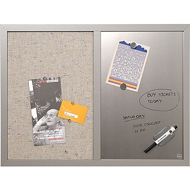 Mastervision Combo Fabric/Dry Erase Board, Gray Wood Frame,  24in.W x 18in.H