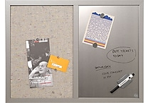 Mastervision Combo Fabric/Dry Erase Board, Gray Wood Frame, 24'W x 18'H