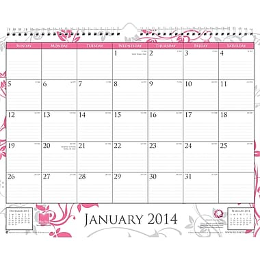 2014 Blue Sky Breast Cancer Awareness Wire-O Wall Calendar 15in.x12in.