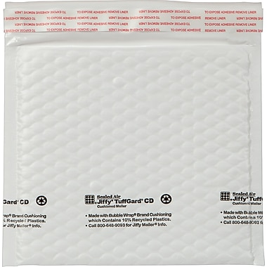 Jiffy TuffGard Self-Seal Cushioned Mailer, Side Seam, 7 1/4 x 8, White, 25/Box