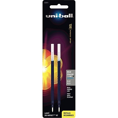 uni-ball Bold Gel Refills For Most uni-ball Retractable Gel Pens, 2/Pack, Blue
