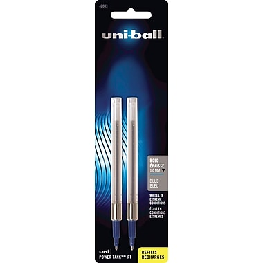 uni-ball Medium Rollerball Refills For Most uni-ball Retractable Rollerball Pens, 2/Pack, Blue