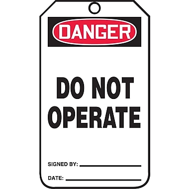 Accuform Signs®-Étiquette Danger Do Not Operate, papier cartonné, 10 lignesur remarques, 5 7/8 (haut.)x3 1/8 (long.), p/25