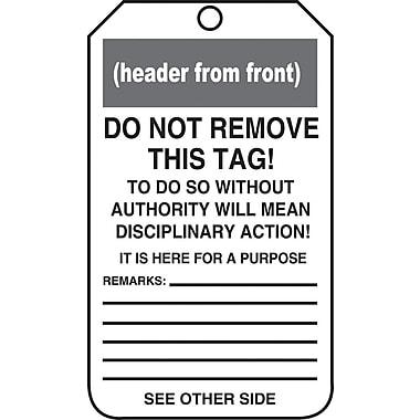 Accuform Signs®-Étiquette Danger Out Of Service, plastique, 6 lignesur remarques, 5 7/8 (haut.)x3 3/8 (long.), p/25