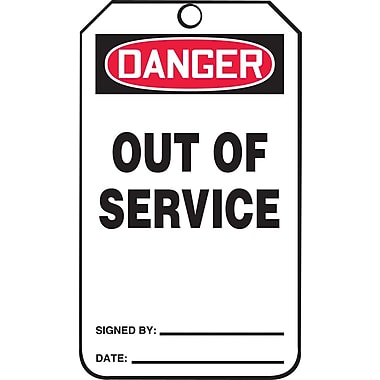 Accuform Signs® Danger Out Of Service Tag, Plastic, 6-Line Remarks, 5-7/8