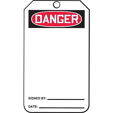 Accuform Signs® Danger Tag, Plastic, 5-7/8