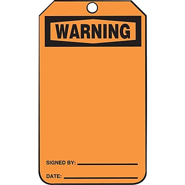 Accuform Signs®-Étiquette Warning, papier cartonné, 5 7/8 (haut.)x3 1/8 (long.), recto et verso vierges, orange, p/25