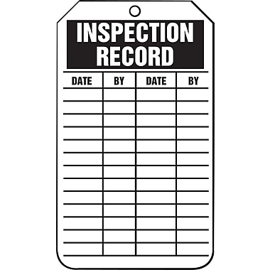Accuform Signs® - Étiquette « Inspection Record », papier cartonné, 5 7/8 po (haut.) x 3 1/8 po (long.), paq./25