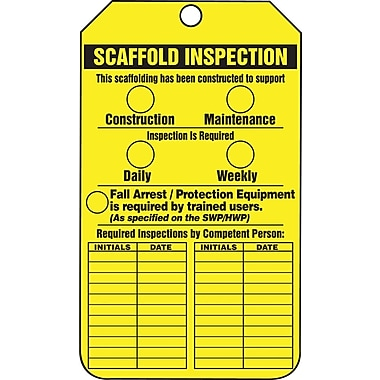 Accuform Signs® - Étiquette « Scaffold Inspection », plastique, 5 7/8 po (haut.) x 3 3/8 po (long.), paq./25