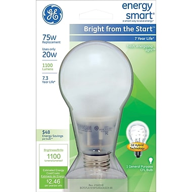 20 Watt GE Energy Smart Bright from the Start A21 CFL, Soft White
