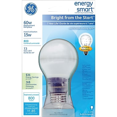 15 Watt GE® Bright from the Start™ A19 CFL, Soft White