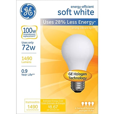 72 Watt GE Energy-Efficient A19 Lightbulb, Soft White
