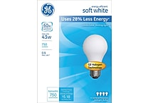 43 Watt GE® Energy-Efficient A19 Lightbulb, Soft White
