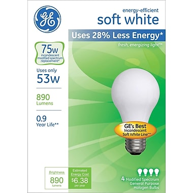 53 Watt GE Energy-Efficient A19 Lightbulb, Soft White