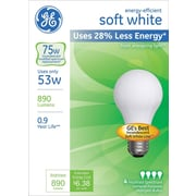 53 Watt GE® Energy-Efficient A19 Lightbulb, Soft White
