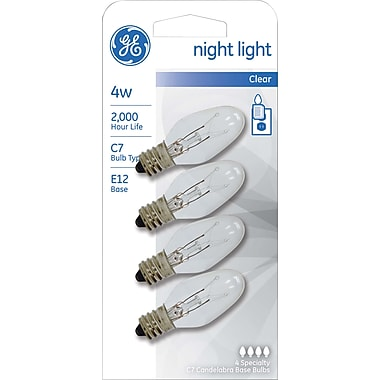 4 Watt GE Nightlight Clear C7 Lightbulb, White