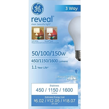 50/100/150 Watt GE Reveal A21 Lightbulb, Soft White