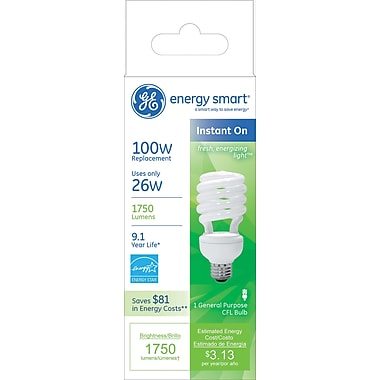 26 Watt GE Energy Smart Spiral T3 CFL, Soft White