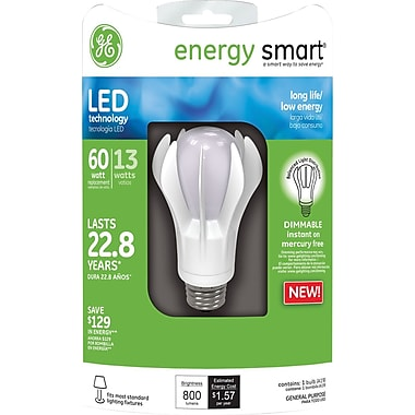GE Energy Smart A19 LED Lightbulb, White, Dimmable