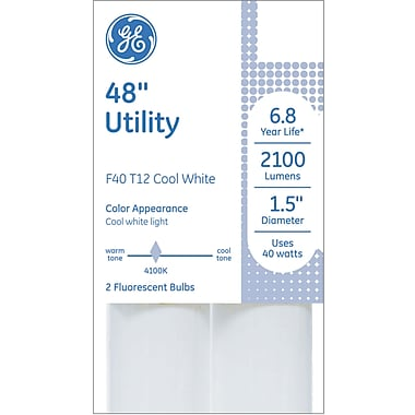 GE Utility T12 Linear Fluorescent Lightbulb, Cool White, Non-dimmable