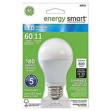 GE Energy Smart A19 LED Lightbulb, Soft White