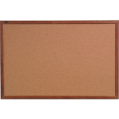 Quartet® Cork Bulletin Board, Oak Finish Frame, 18in. x 24in.