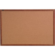 Quartet® Cork Bulletin Board, Oak Finish Frame, 18 x 24