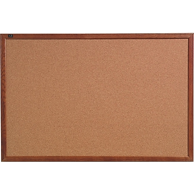 Quartet® Cork Bulletin Board, Oak Finish Frame, 2' x 3'