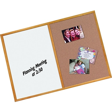 Staples® Combination Board, Dry-Erase & Cork, Oak Finish Frame, 2' x 3'