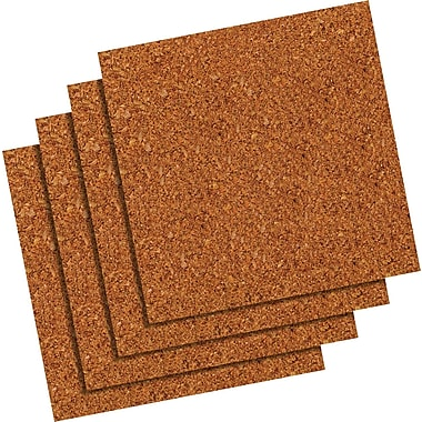 Quartet® Natural Cork Tiles, Frameless, Modular, 4 Pack, 12in. x 12in.