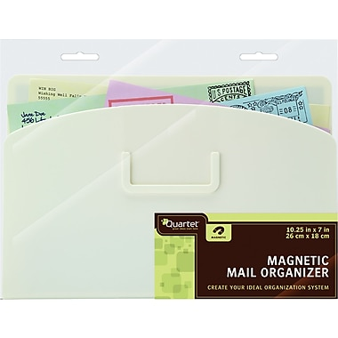 Quartet® Magnetic Mail Organizer Storage Pouch, White, 10in. x 7in.