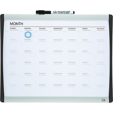 Quartet® Magnetic Dry-Erase Calendar Board, 1-Month Design, Black/Silver Frame, 11in. x 14in.