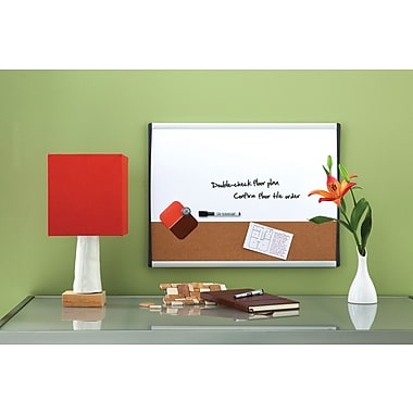 Quartet® Magnetic Combination Board, Dry-Erase & Cork, Black/Silver Frame, 11in. x 17in.