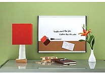 Quartet® Magnetic Combination Board, Dry-Erase & Cork, Black/Silver Frame, 17' x 23'