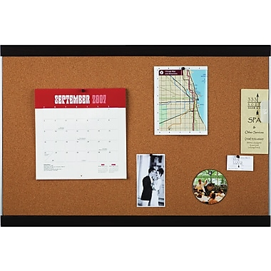 Quartet® Cork Bulletin Board, Mahogany Finish and Aluminum Frame, 2' x 3'