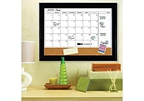 Quartet® Magnetic Combination Calendar Board, Dry-Erase & Cork, 1-Month Design, Espresso Frame, 17' x 23'