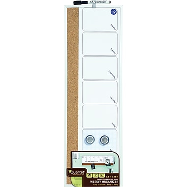 Quartet® Magnetic Weekly Organizer Combo Board, Dry-Erase & Cork, 7.5in. x 23in.
