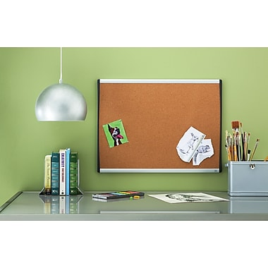 Quartet® Cork Bulletin Board, Black/Silver Frame, 17in. x 23in.